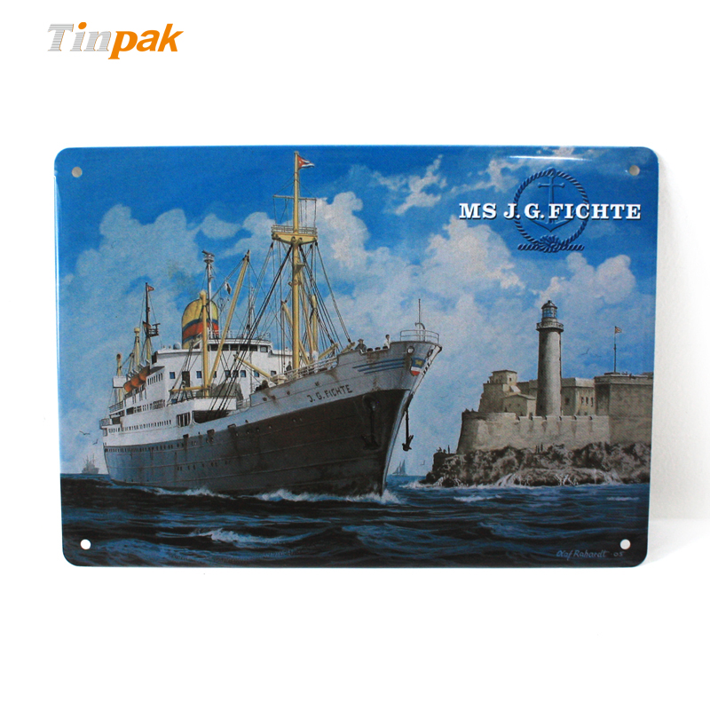 Customized rectangular embossed tin signs for sale