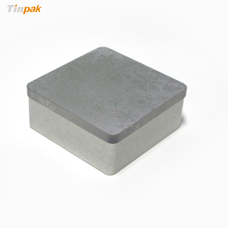 Square plain metal box for household