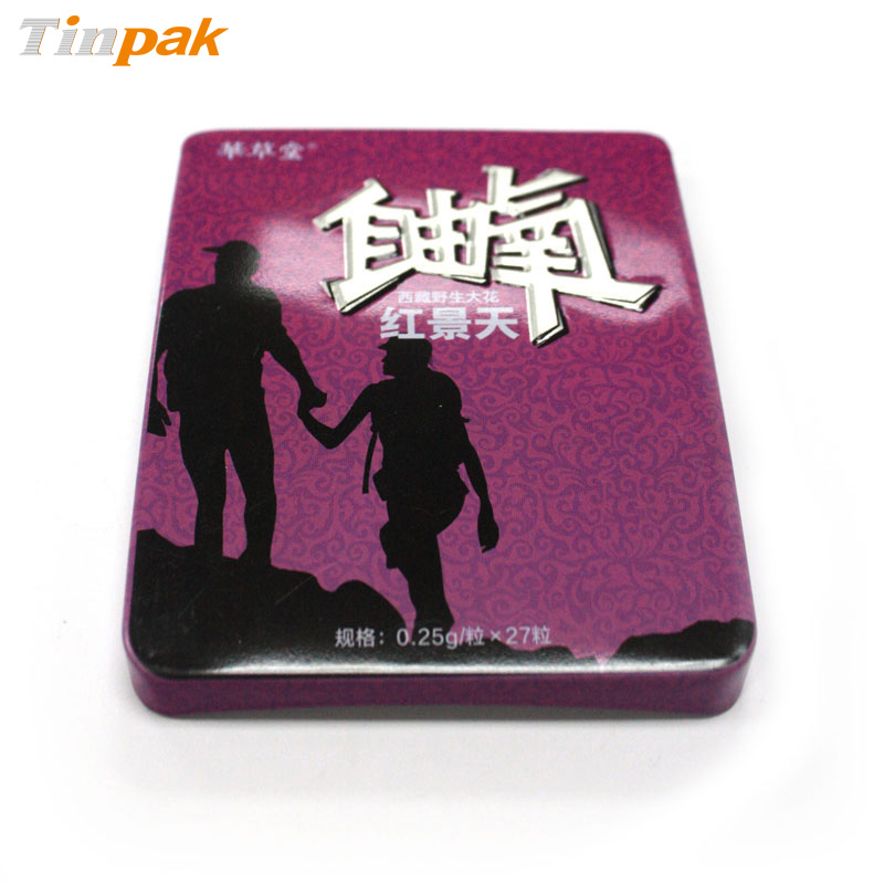 Economical metal pills tin with slide lid