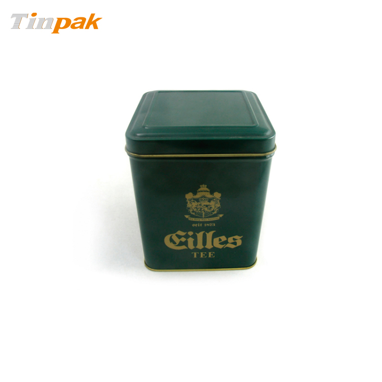 Bespoke square hinged tea tin box