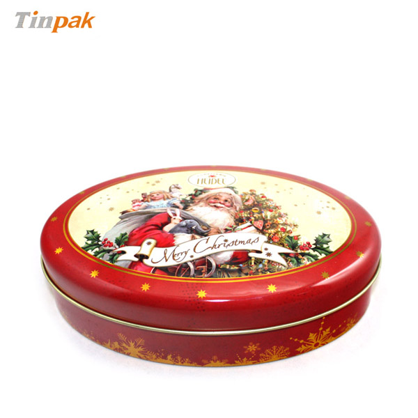 small embossed oval chocolate tin