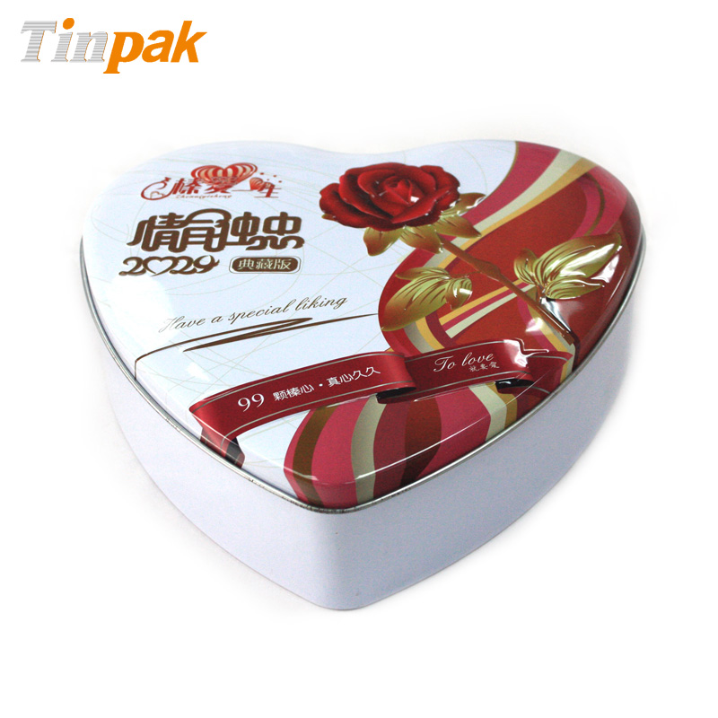 embossed heart chocolate tin cans