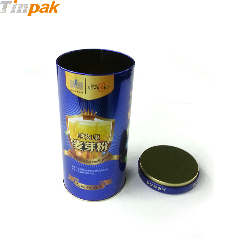 colorful round powder tin with Pillow lid