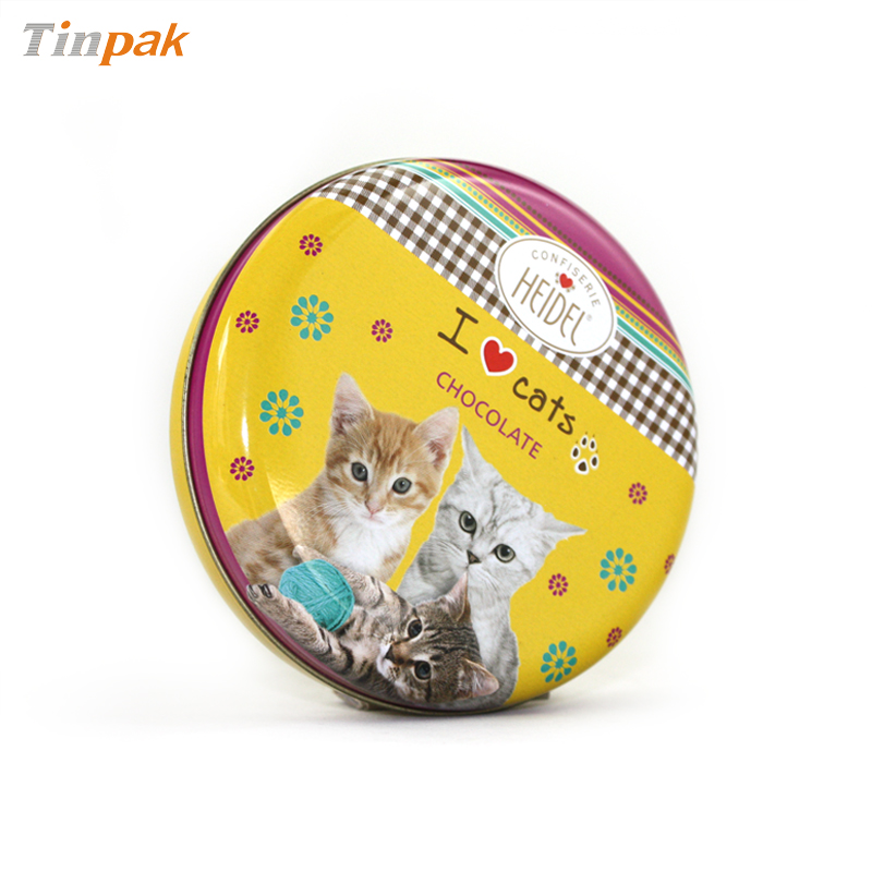 Seamless Round Cat Food Metal Container