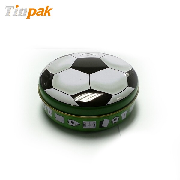 football printed tin box for chocolate