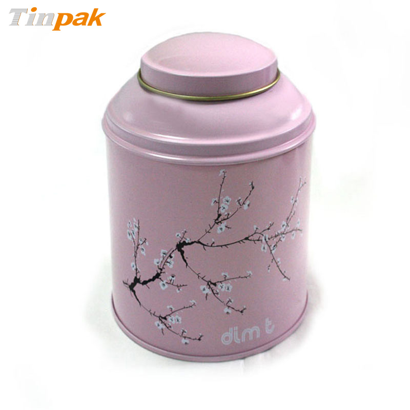 Custom printed round stackable metal tea caddy