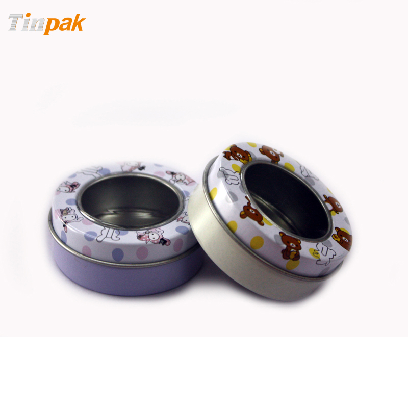 Lovely Small Round Lip Balm Tin with Window