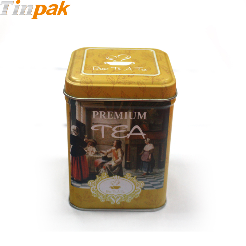 Custom printing square tea tin with stepped lid