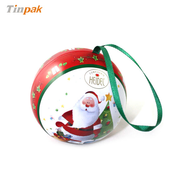 Metal Christmas Ball Ornament Gift Tin