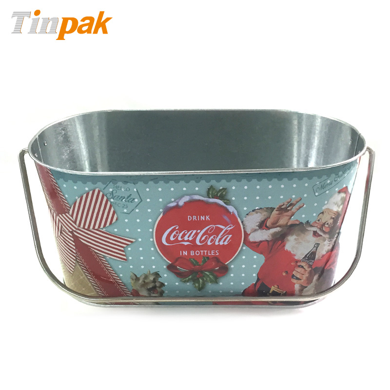 Christmas Tin Buckets with Handle