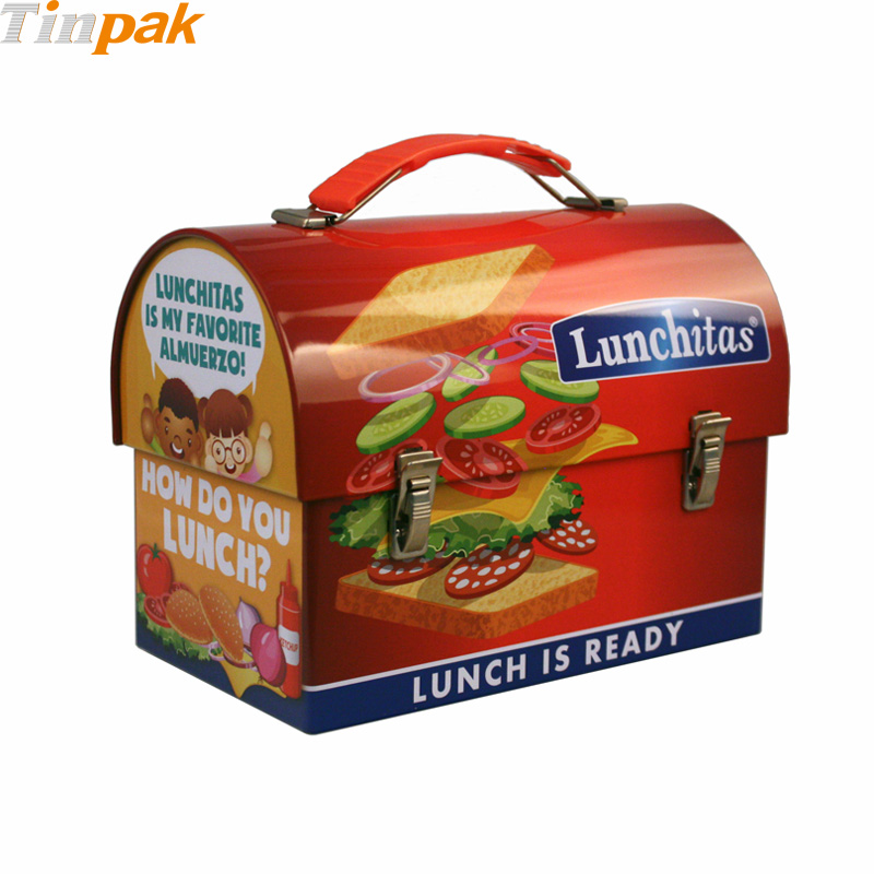 Wholesale domed metal lunch box with handle