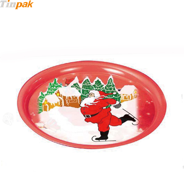 Round Christmas Print Serving Tin Trays