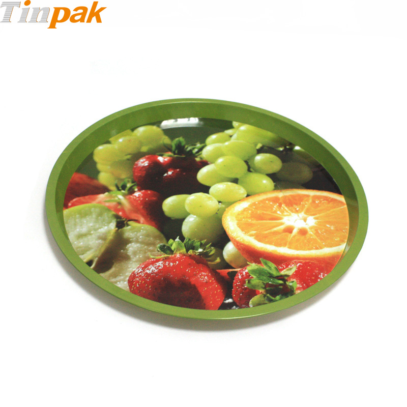 Decorative metal trays for food
