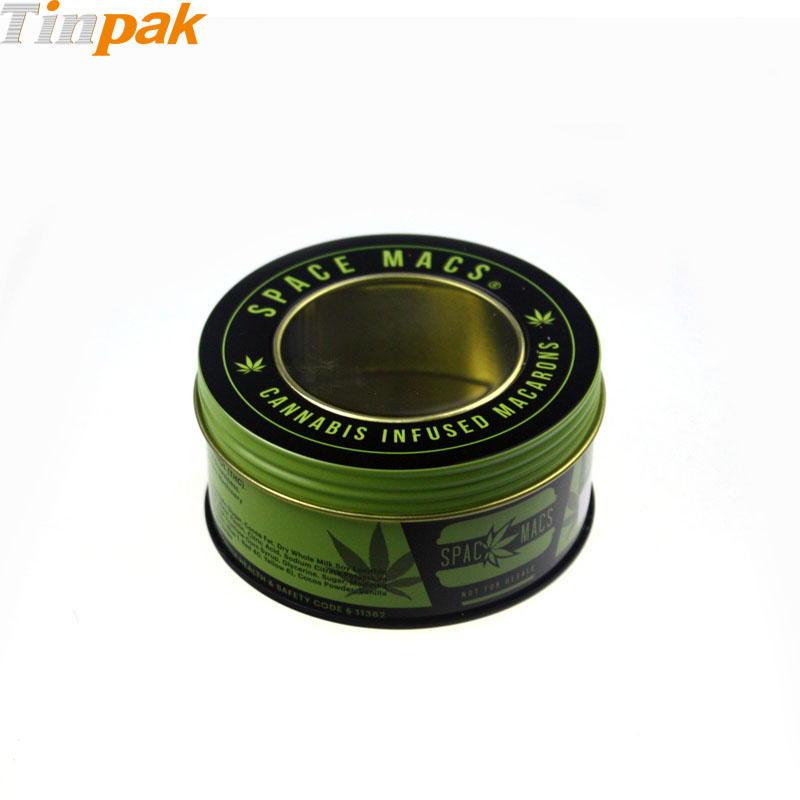 Custom round tin can with clear lid