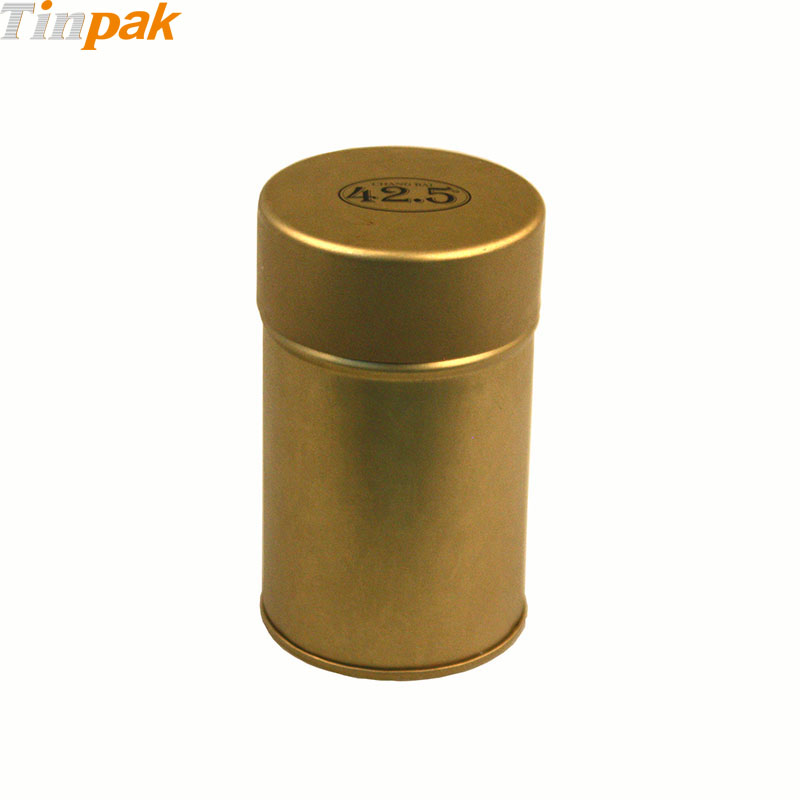 Copper Color Round tea tin container with inner lid