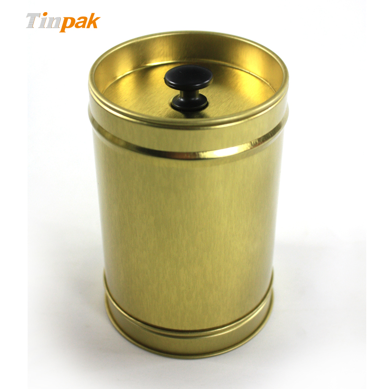 Round Tea Tin Container with Double Cover