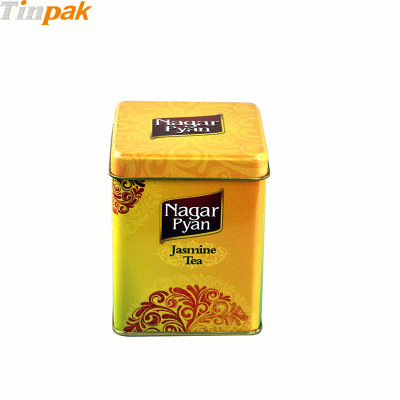 Custom Square Tea Tin Caddy with Inner Lid