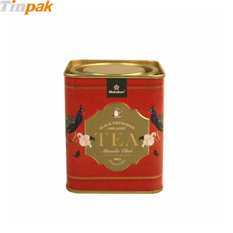 Custom Square Tea Tins with Pry Lid