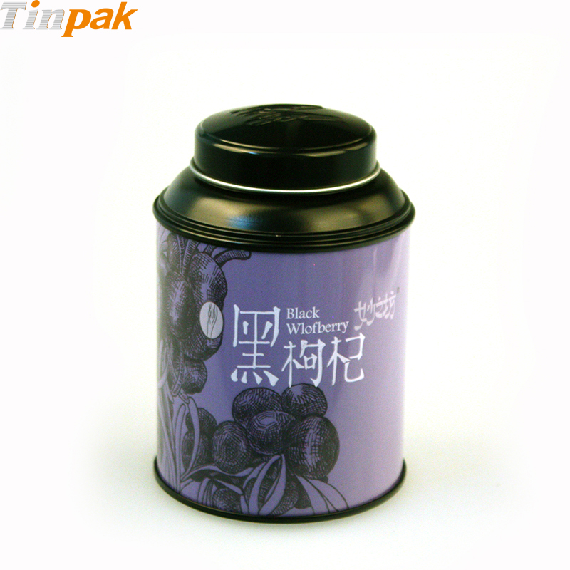 Decorative round tea metal box with lids