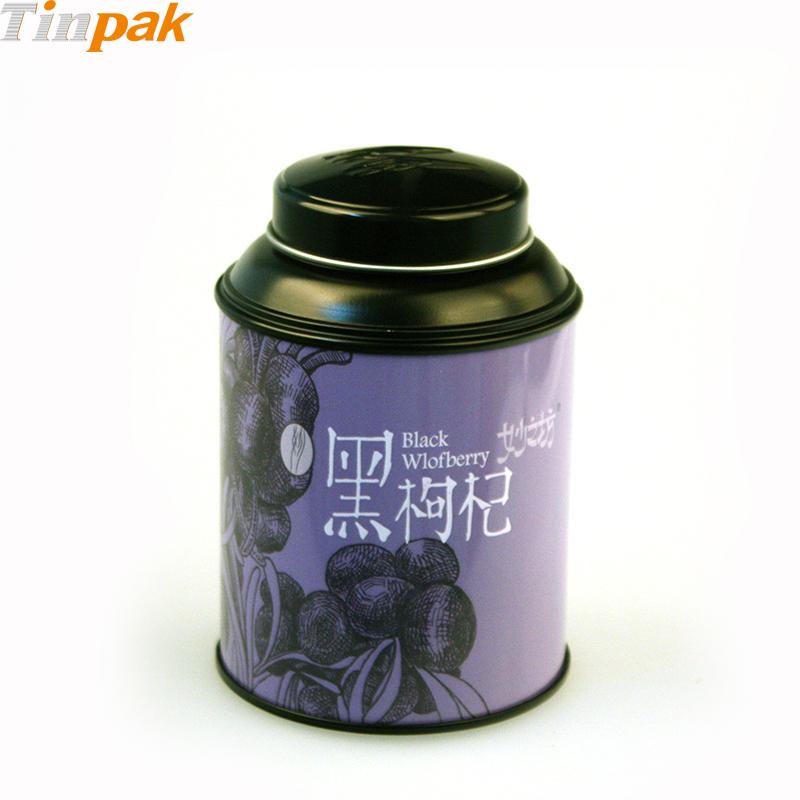 Decorative round tea metal box with lids