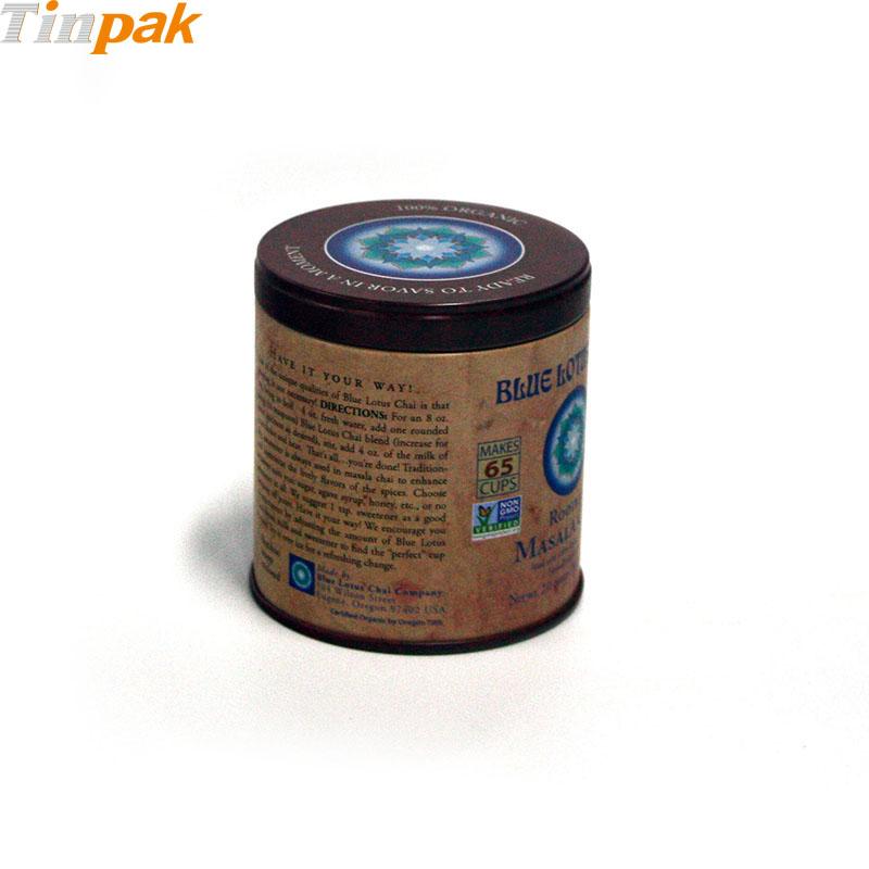 Round Airtight Chai Tea Tin Box