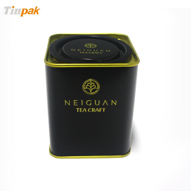 Antique Square Lever Lid Tea Tin