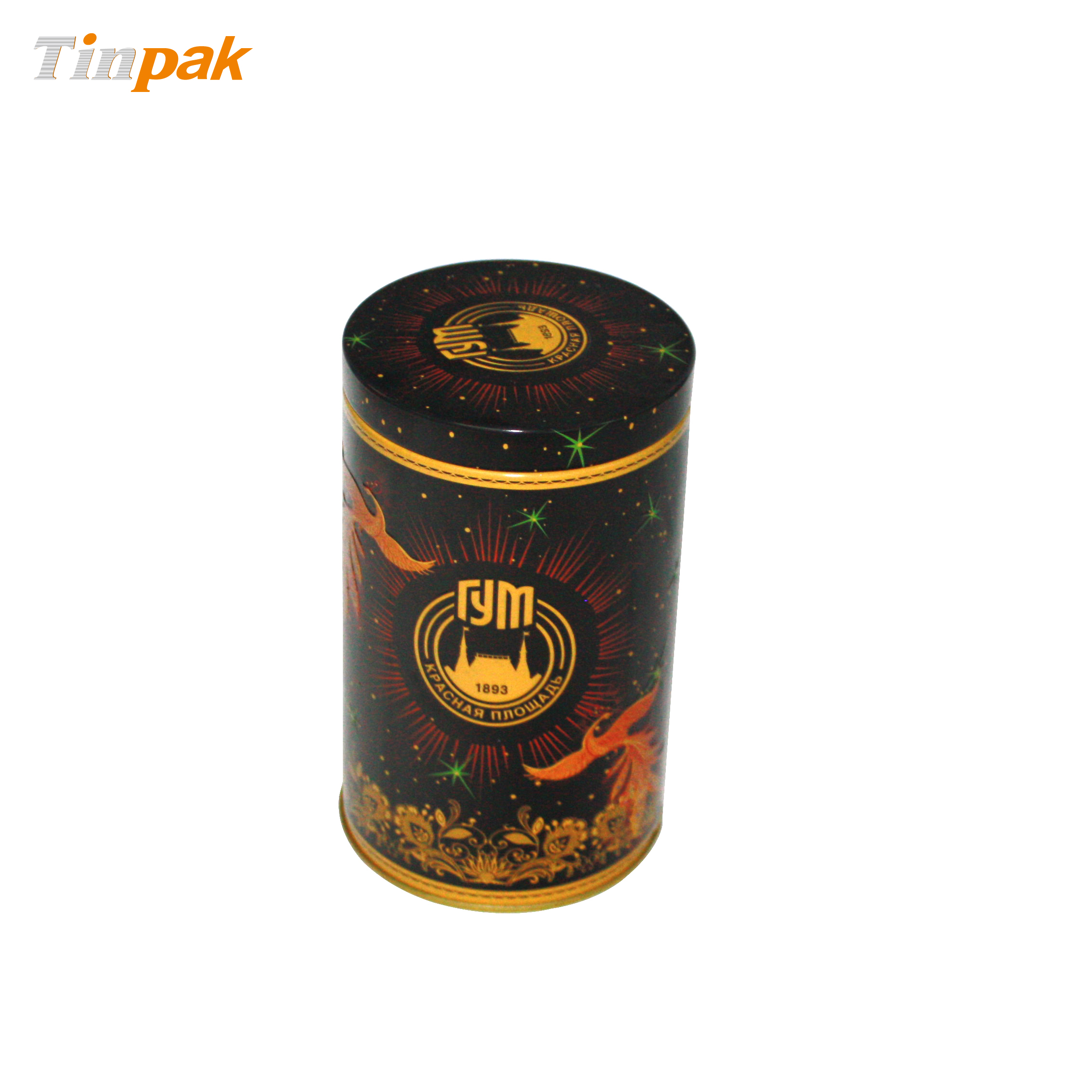 Round Custom Tea Tin with Plus Lid