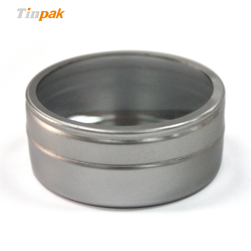 Custom candle tin containers with clear lid