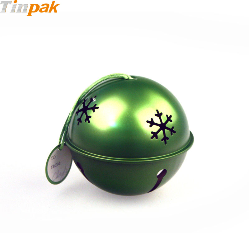Hot Sale Bauble Shaped Christmas Tin Boxes with Ribbon
