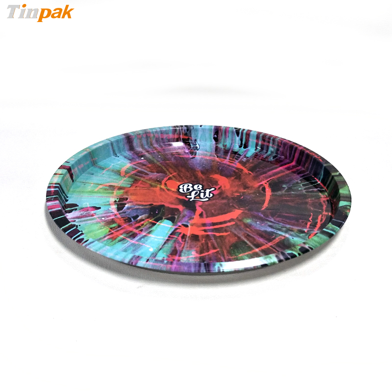 2018 hot sale round custom metal serving tray