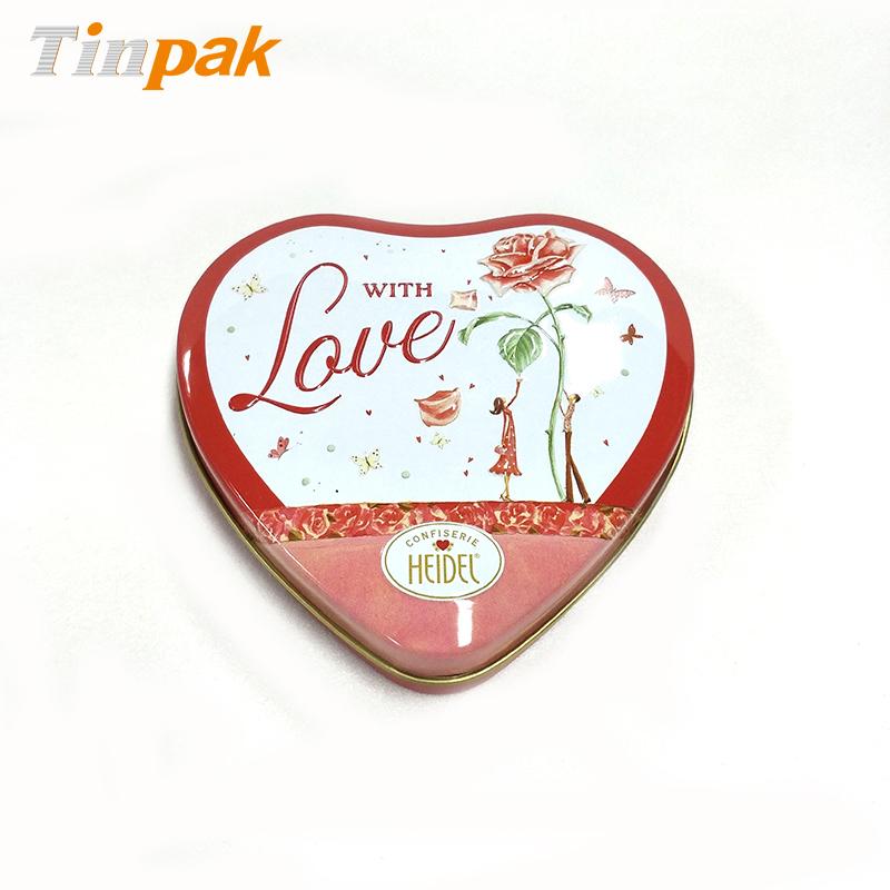 Custom Valentines Gift Heart Shape Chocolate Tin Can
