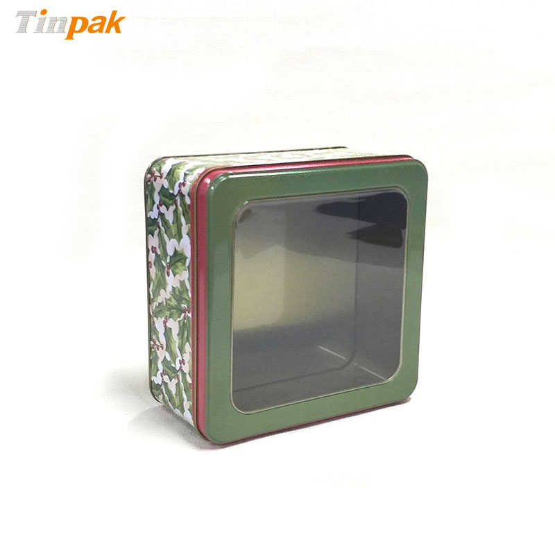 Amazon hot sale square tin boxes with clear cover
