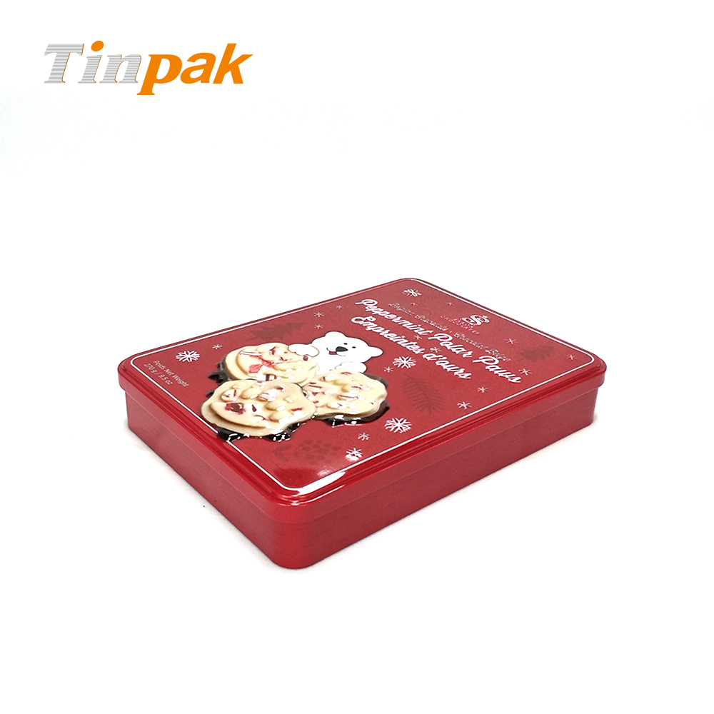3D emboss rectangle chocolate tin can for gifts