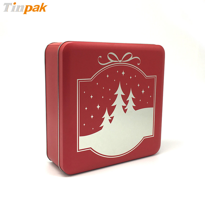 Decorative Christmas gift tin box for candy or chocolates packing