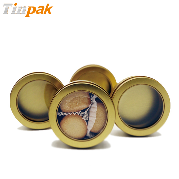 Customized round cookie metal tins with clear top