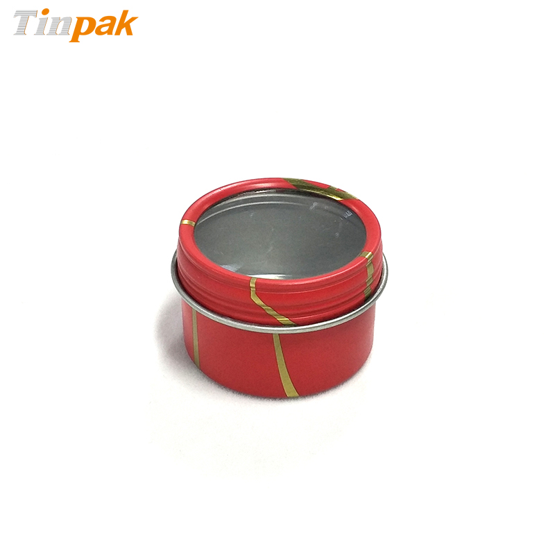 Round Seamless Screw Top Tin box with clear window