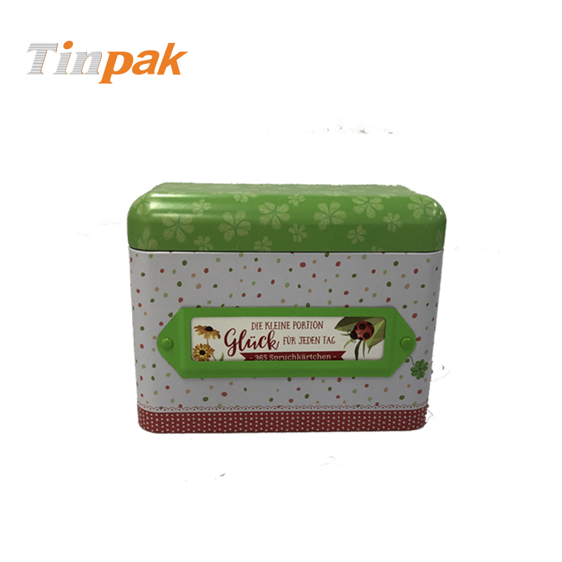 Premium gift paper cards packaging tin box with hinge
