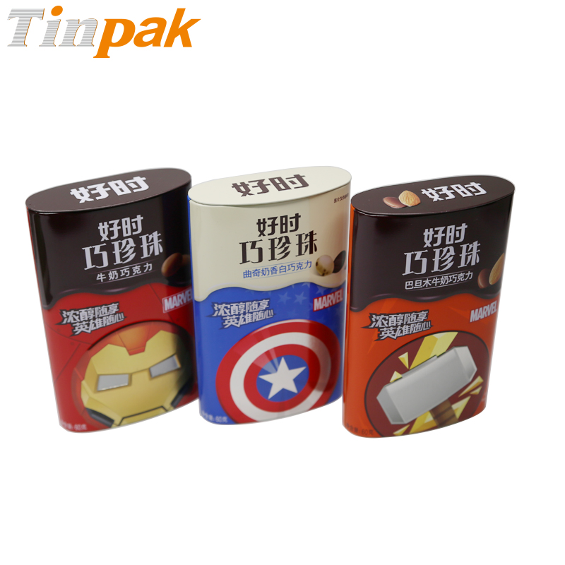 Oval Chocolate Candy Metal Tin Cans with hinge