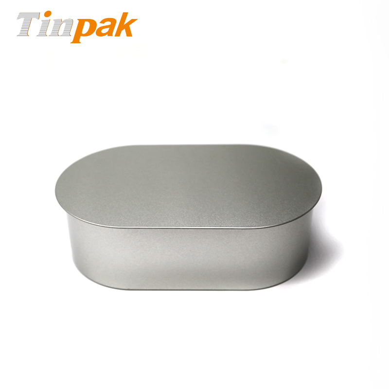 Empty Oval Metal Tin Container for Cookies or Chocolates Packaging