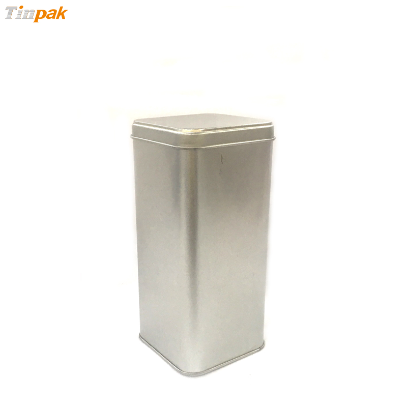 Plain square biscuit metal boxes with hinged lids