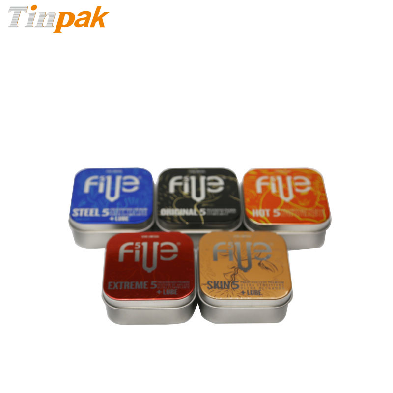 Cute square condom packing metal tin holder