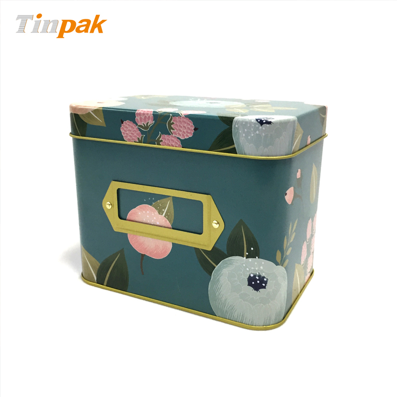 Decorative large rectangle food tin recipe tin box