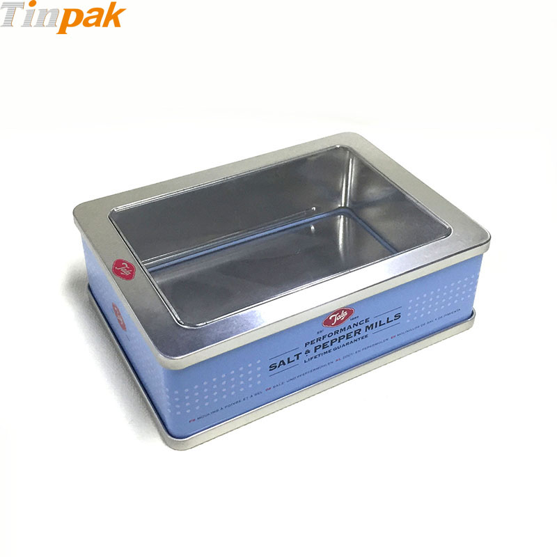 empty rectangular tin boxes with clear lids