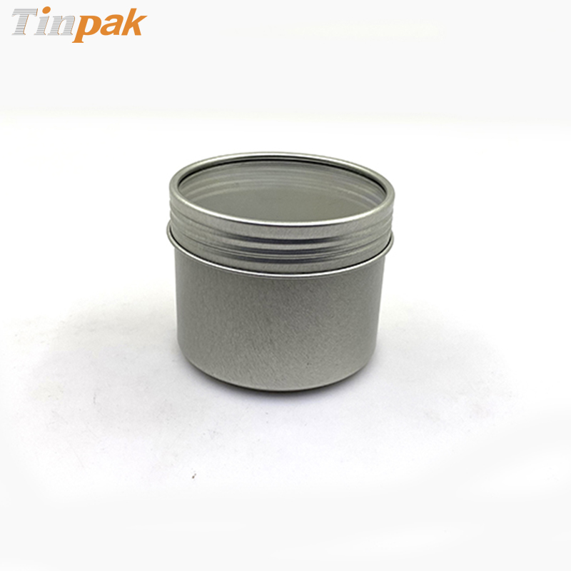 Plain silver round spice tin container with screw top