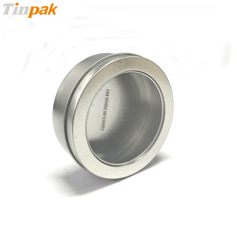 Silver Round Scented Candle Tins with Clear Lid