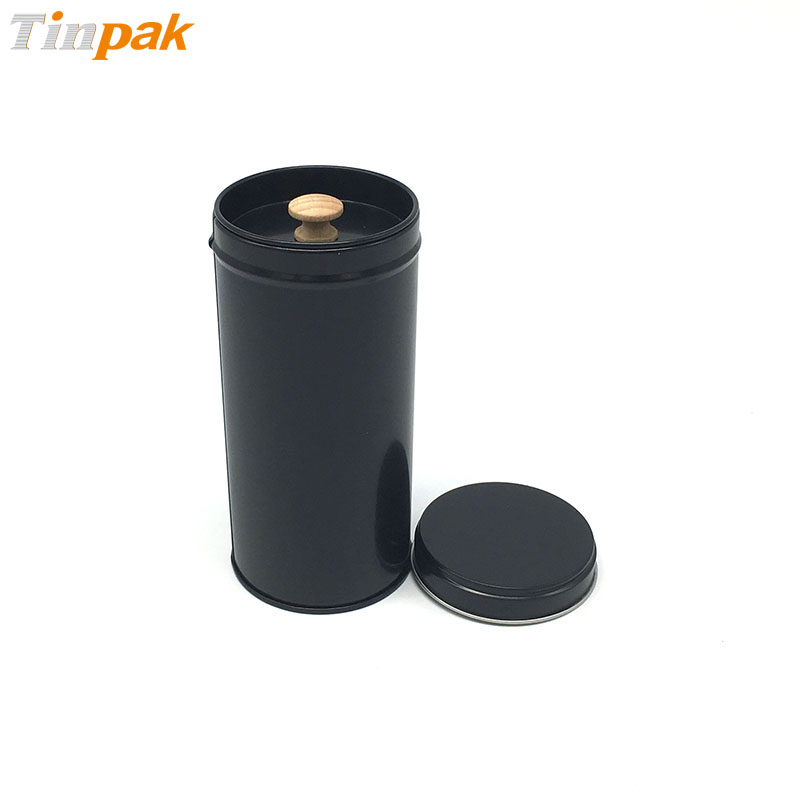 Matte black round magnetic spice tins for 15oz