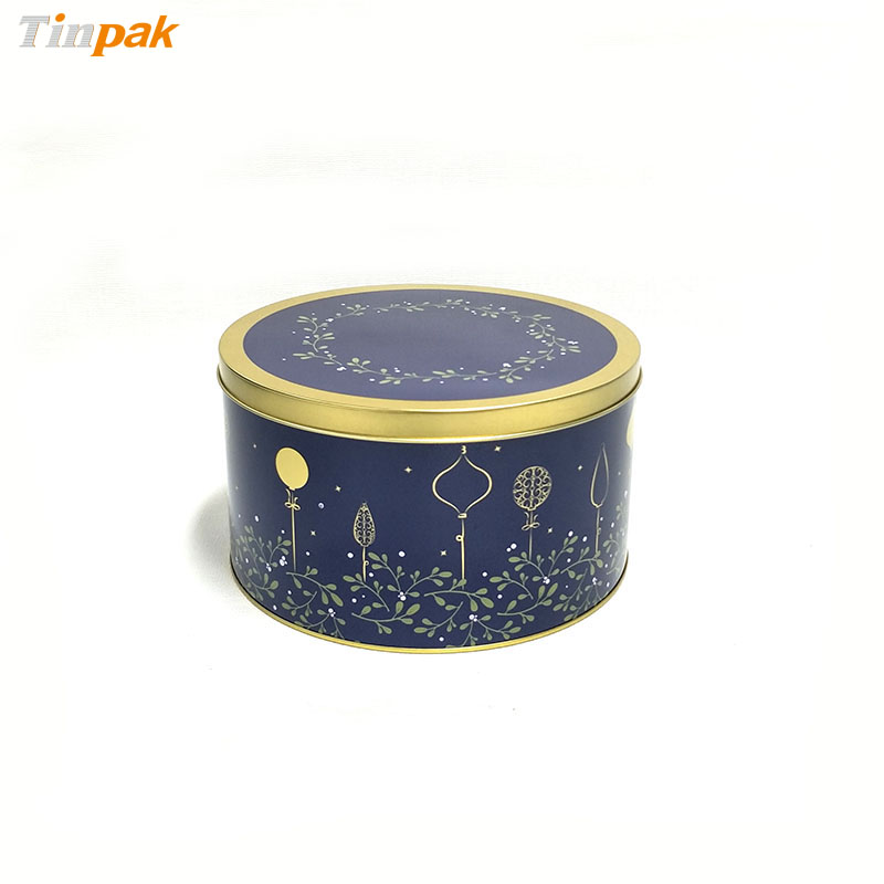 Empty round metal tin cookie box