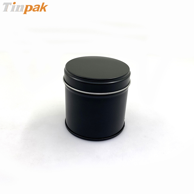 Black round shape spices storage metal box with inner lids