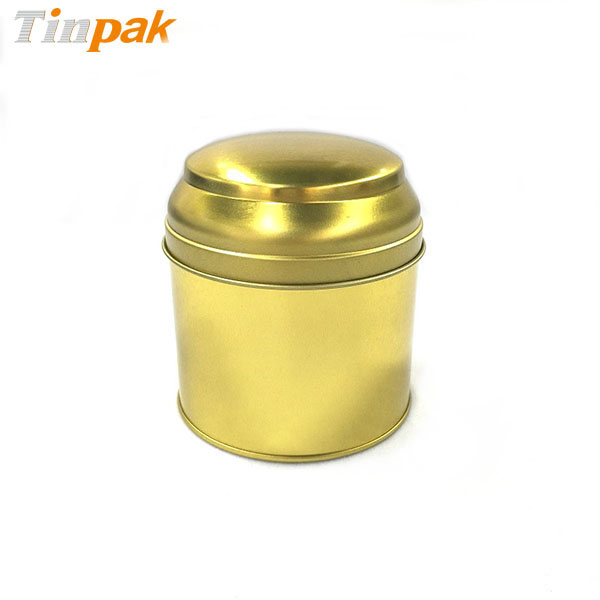 Decorative Luxury Golden Soy Wax Candle Tin Jar with Domend Lid