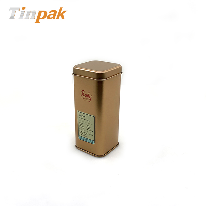 Customized rose gold square tin packaging for spice